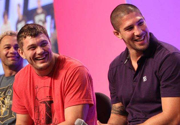 Mitrione and Schaub in happier times. (Getty)