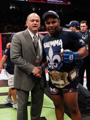 Strikeforce's Scott Coker (left) and Daniel Cormier