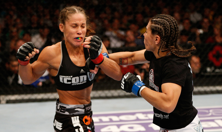 Liz Carmouche (L) will meet Alexis Davis at the UFC's