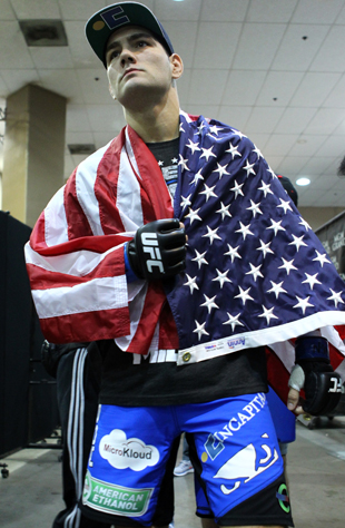Chris Weidman wrapped himself in the flag at UFC 162 (Getty Images)