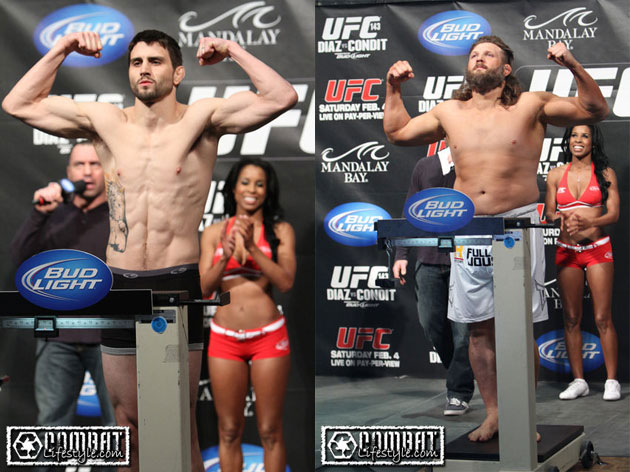 UFC 143 weigh-in: The new Nick Diaz avoids drama, main eventers ...