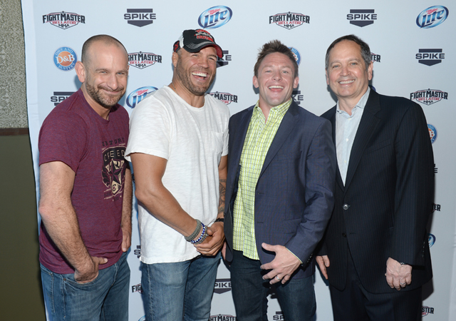 Greg Jackson, Randy Couture and Joe Warren (L-R) are coaches on Fight Master. Kevin Kay is Spike TV president (Getty)