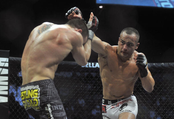 I once saw Eddie Alvarez punch a dude DEAD. Okay, not really. (Getty)