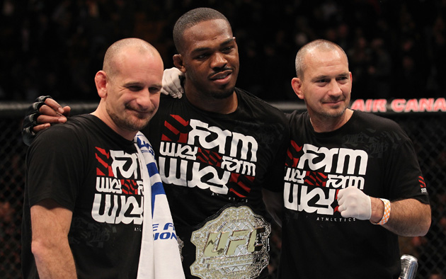 Greg Jackson (L), Jon Jones and Mike Winkeljohn celebrate a win (Getty Images)