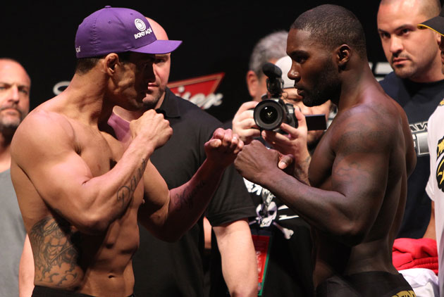 Belfort and Johnson square off at UFC 142 weigh in (Getty)