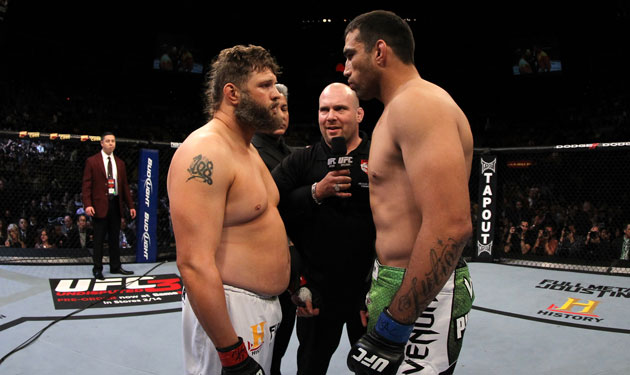 Nelson meets Werdum in the middle of the Octagon (Getty)