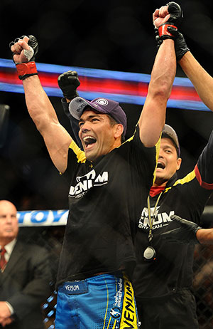 Lyoto Machida celebrates after his win. (Getty)