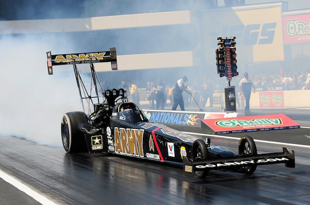 Tony Schumacher's dragster will have a canopy on the cockpit this weekend. (Getty)