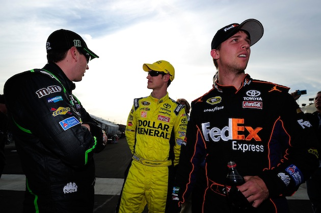 Kyle Busch, Joey Logano and Denny Hamlin in happier, teammate times. (Getty)