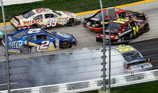 Ryan Newman (39) sneaks into the lead after Clint Bowyer, Jimmie Johnson and Jeff Gordon crash. (Getty)