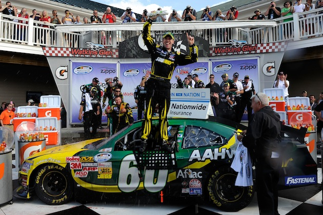 Yes, that's a sandwich that Carl Edwards is holding up. (Getty)