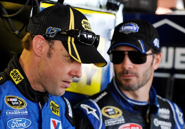 Matt Kenseth (L) and Jimmie Johnson are the Chasers to beat at Dover. (Getty)