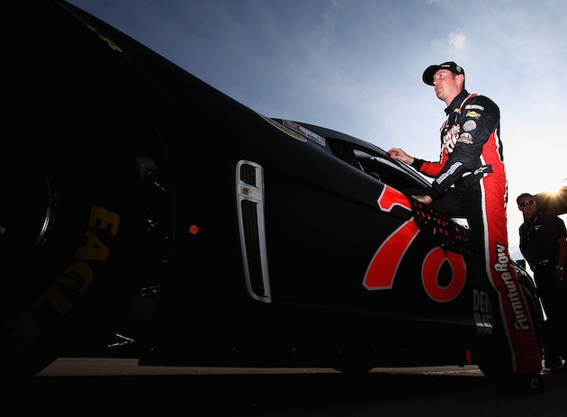 Kurt Busch gets in before making his pole-winning qualifying attempt. (Getty)