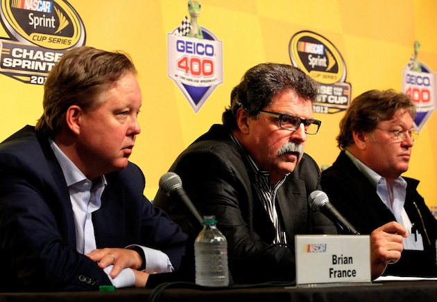 NASCAR CEO Brian France, President Mike Helton and VP of Competition Robin Pemberton. (Getty)