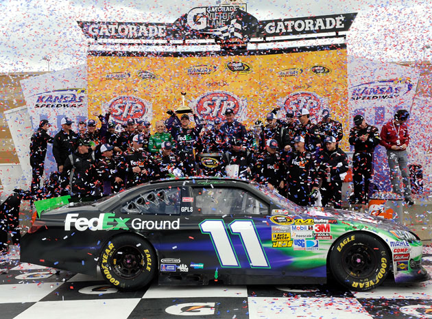 Denny Hamlin brought the 11 back to victory lane. (Getty Images)