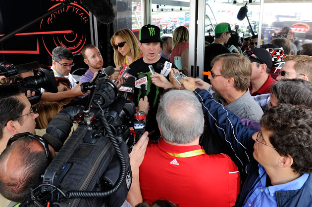 Kurt Busch meets the media. (Getty Images)