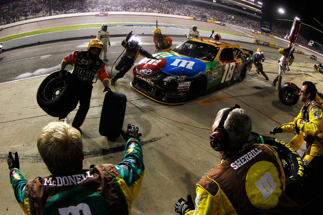 Pit road was not kind to Kyle Busch. (Getty Images)