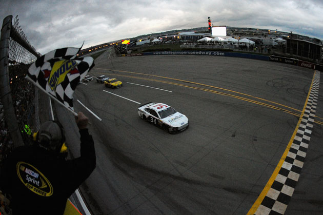 David Ragan takes the checkers, at long last. (Getty Images)