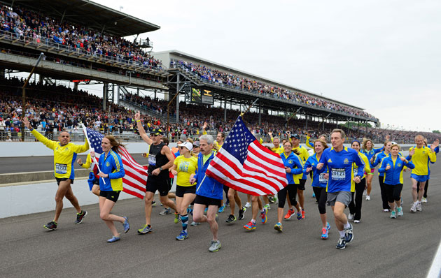 Boston Marathoners finish their race. (Getty Images)