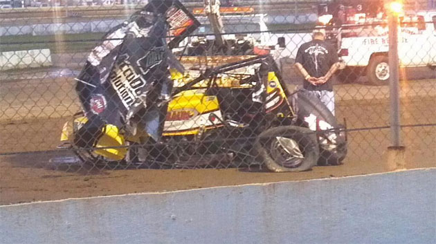 The wreckage of Jason Leffler's car. (Via @christophetaitt)