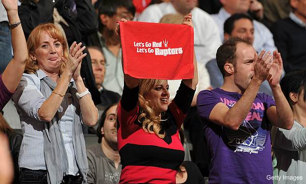 Raptors fans cheer for a team not playing Blake Griffin.