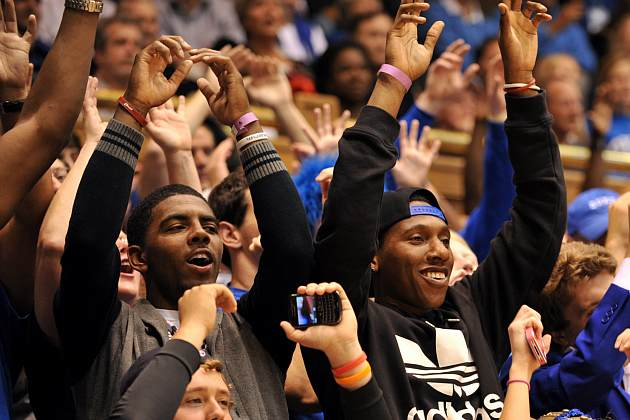 Kyrie Irving and Nolan Smith returned to Duke in November (Lance King/ Getty).