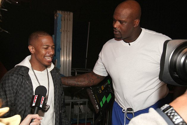 Shaquille O'Neal hangs out with Nick Cannon, who is hilarious (Christopher Polk/ WireImage).