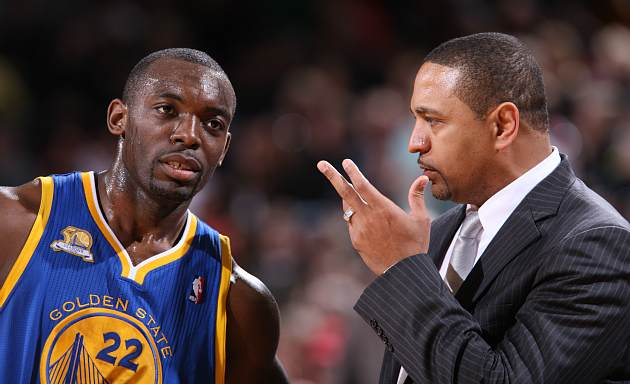Mark Jackson tells Charles Jenkins to close up air space (Sam Forencich/ Getty).