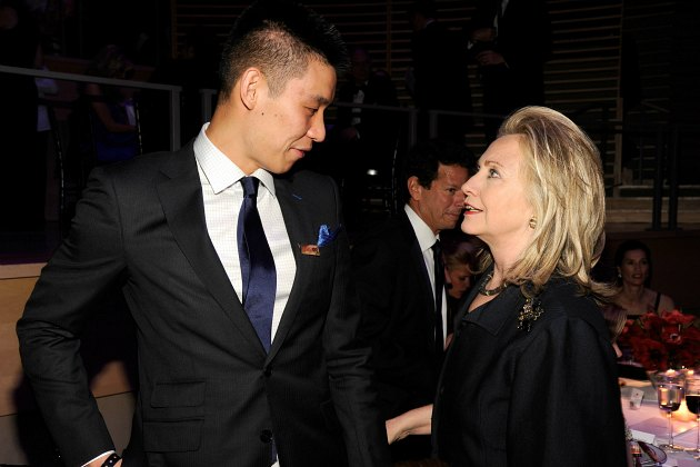 Hillary Clinton asks Jeremy Lin how tall he is (Kevin Mazur/ WireImage).