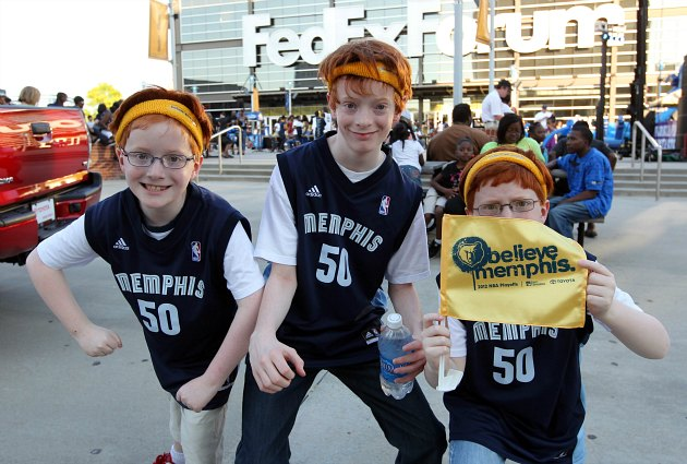 In 15 years, these Grizzlies fans will drunkenly recreate this photo (Joe Murphy/ Getty).