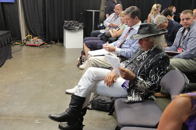 Jimmy Goldstein shows up assorted media at the 2012 NBA Finals (David Sherman/ Getty).