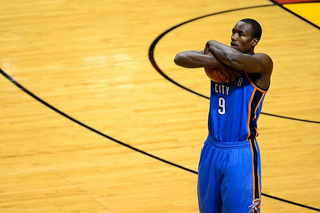 Serge Ibaka demonstrates his idea of a post move (Ronald Martinez/ Getty).