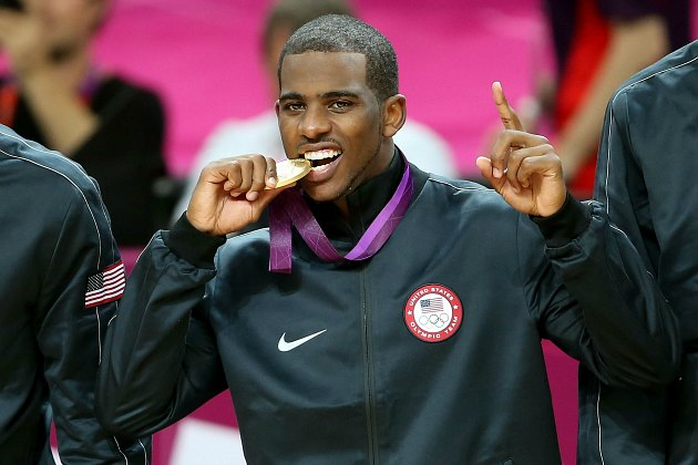 Chris Paul learns that his gold medal does not have a chocolate center (Streeter Lecka/ Getty).