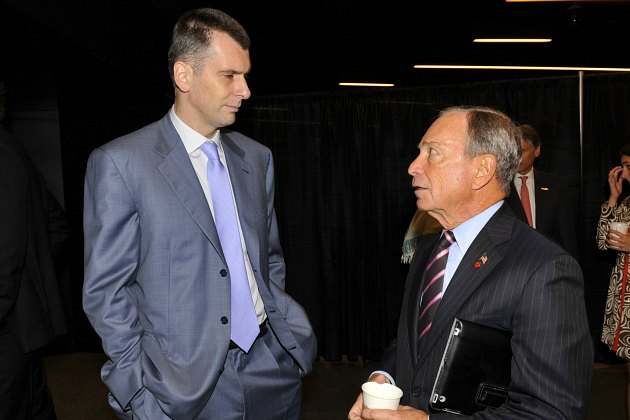 Mikhail Prokhorov scares the bejeesus out of Michael Bloomberg (David Dow/ Getty).