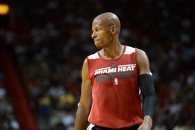 Ray Allen waits on the perimeter for minutes on end (Ron Elkman/ Getty).