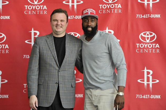 James Harden inspires Daryl Morey to grow a beard (Bill Baptist/ Getty).