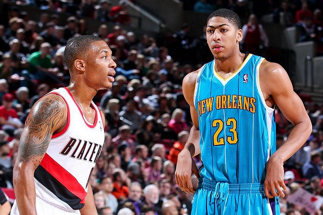 Damian Lillard (left) and Anthony Davis, neither of whom are Kyrie Irving (Sam Forencich/ Getty).