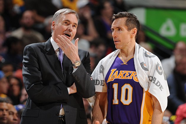 Mike D'Antoni promises Steve Nash that he still loves him (Garrett Ellwood/ Getty).