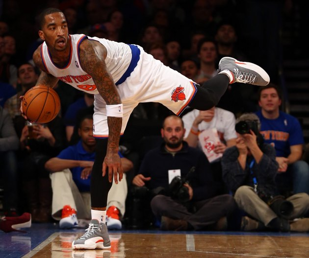 J.R. Smith makes a perfectly normal basketball movement (Elsa/ Getty).