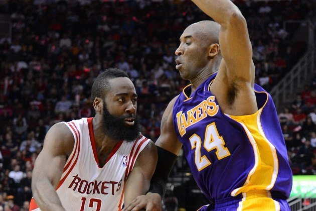 Kobe Bryant tries to stop James Harden (MCT via Getty Images).