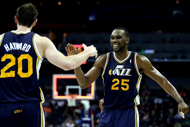 Gordon Hayward and Al Jefferson celebrate the existence of waffles (Streeter Lecka/ Getty).