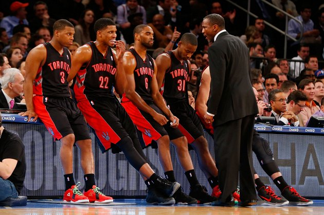 Toronto Raptors head coach Dwane Casey instructs his players (Jim McIsaac/ Getty).