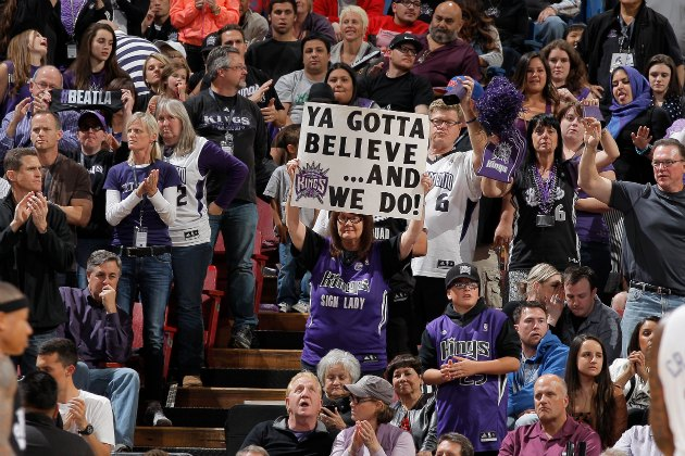 Kings fans support their team during this season's final home game (Rocky Widner/ Getty).