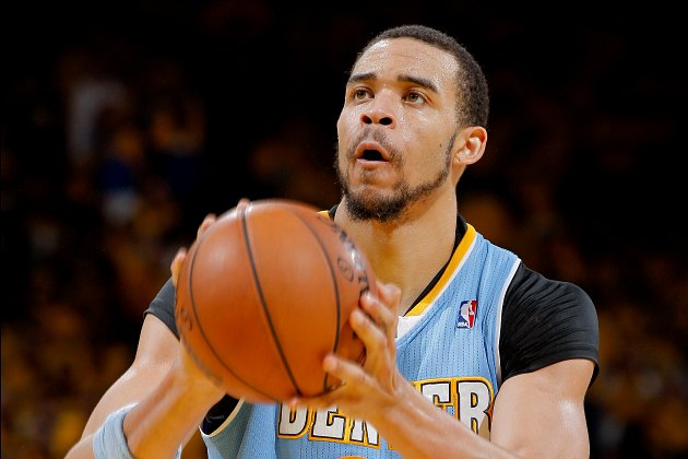 JaVale McGee prepares to bank a free throw on purpose (Rocky Widner/ Getty).