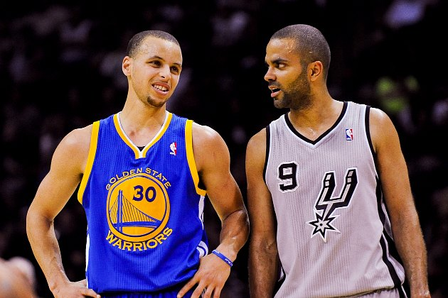 Tony Parker tells Stephen Curry about the time he designed the Eiffel Tower (Noah Graham/ Getty).