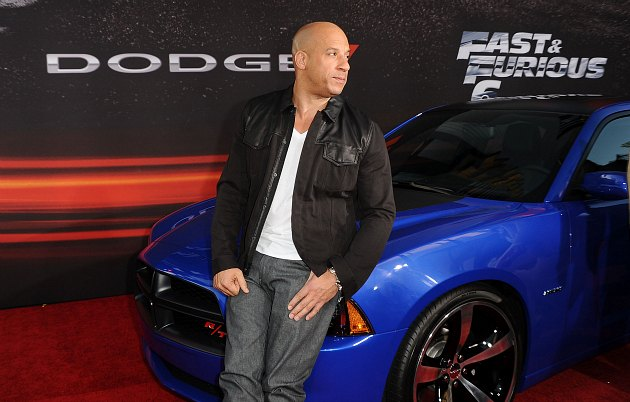 Vin Diesel strikes a perfectly normal pose (Jason LaVeris/ FilmMagic).