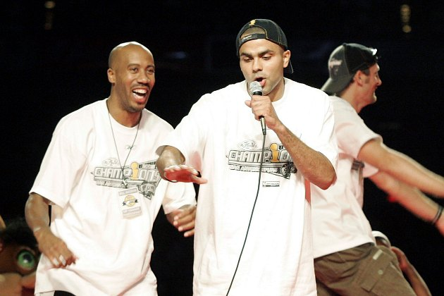 Bruce Bowen lasted only one performance as Tony Parker's hype man (Layne Murdoch/ Getty).