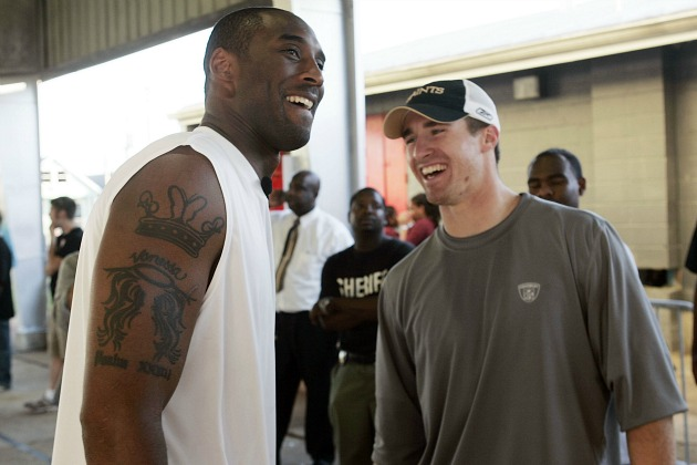 Kobe Bryant and Drew Brees laugh at Pau Gasol's horse fixation (Chris Graythen/ Getty).