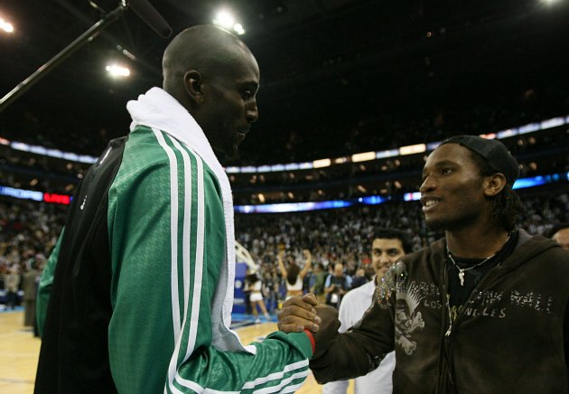 Kevin Garnett and soccer star Didier Drogba discusses various disgraces (David Sherman/ Getty).