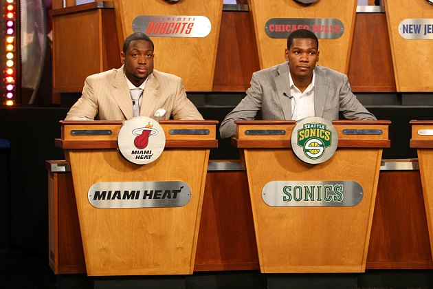 Strange but true: Dwyane Wade and Kevin Durant at the 2008 Draft Lottery (Jesse D. Garrabrant/ Getty).
